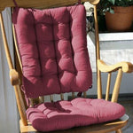 Cotton Duck Wine Red Rocking Chair Cushions - Latex Foam Fill - Reversible