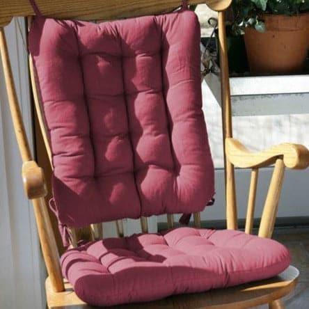 Cotton Duck Wine Red Rocking Chair Cushions   Latex Foam Fill   Reversible