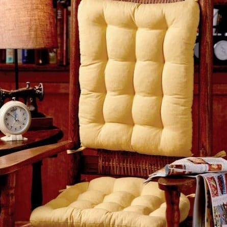 Cotton Duck Yellow Rocking Chair Cushions - Latex Foam Fill - Reversible