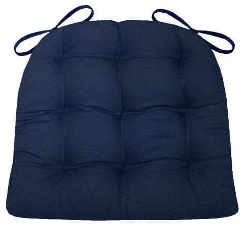 Cotton Duck Navy Blue Solid Color Dining Chair Pads  - Latex Foam Fill - Reversible