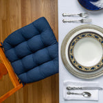 Cotton Duck Navy Blue Solid Color Dining Chair Cushions | Barnett Home Decor | Navy Blue