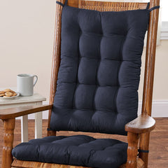 Cotton Duck Navy Blue Rocking Chair Cushions - Latex Foam Fill