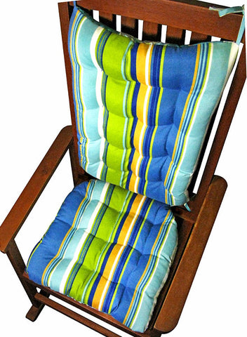 Westport Cabana Stripe Blue Porch Rocker Cushions - Latex Foam Fill, Reversible
