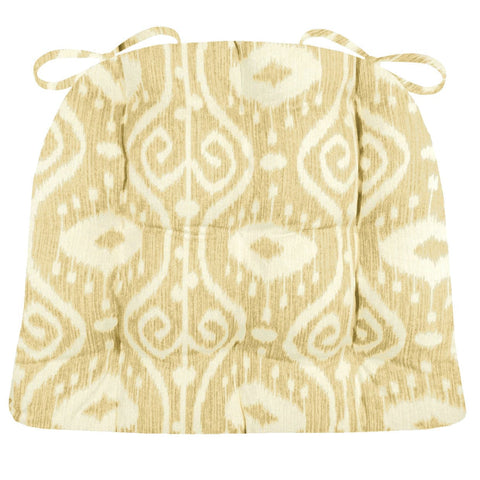 Bali Ikat Wheat Dining Chair Pad - Latex Foam Fill - Ikat Scroll