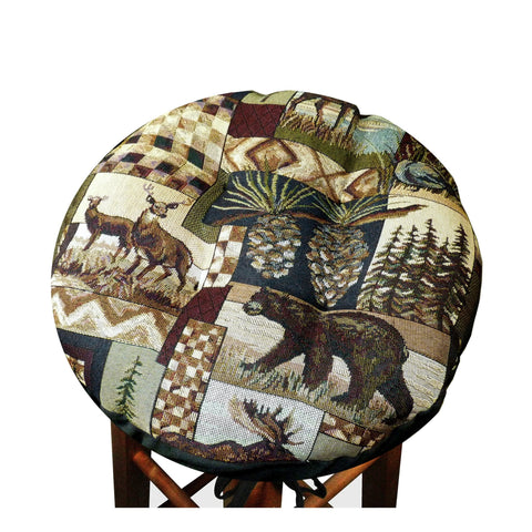 Woodlands Peters Cabin Bar Stool Cover With Cushion And