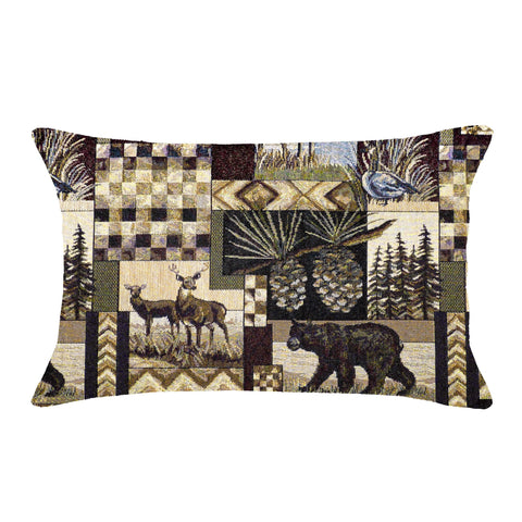 Woodlands Peters Cabin Lumbar Pillow - Reverses to Microsuede black