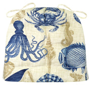 Sea Life Indoor / Outdoor Dining Chair Pads - Navy Blue and Brown