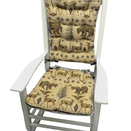 Wilderness Ottawa Rocking Chair Cushions - Barnett Home Decor- Beige, Brown, & Green