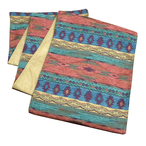 "Southwest Phoenix Sunset 72"" Table Runners - Lined with Microfiber Ultrasuede in Camel"