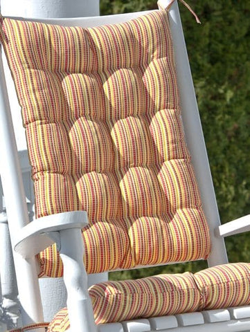 Atwood Plaid Rocking Chair Cushions - Latex Foam Fill - Reversible