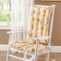 Mimosa Floral Rocking Chair Cushions  - Machine Washable