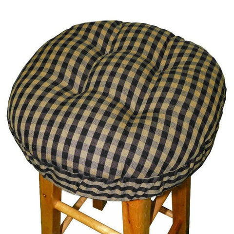 Checkers Black & Tan Bar Stool Pad | Barnett Home Decor | Black & Tan