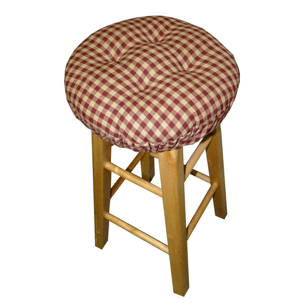 Checkers Red & Tan  Bar Stool Cover with Cushion and Adjustable Yoke