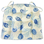 Shell Dance Blue & Ivory Dining Chair Pad - Seashells