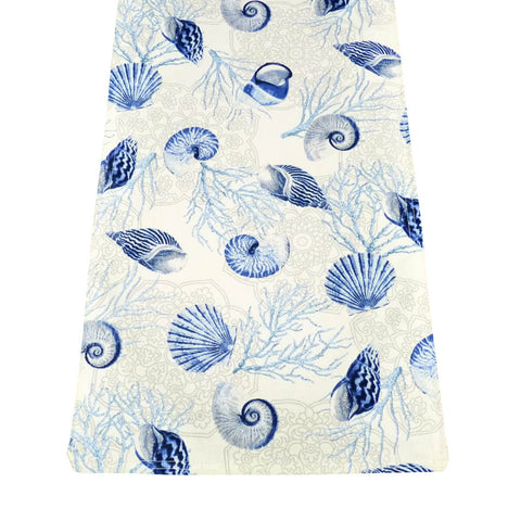 Shell Dance Blue Rectangle Table Runners | Barnett Home Decor