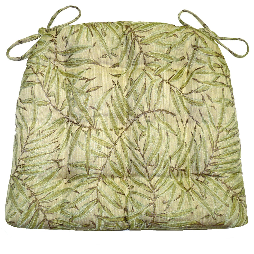 San Marino Palm Green Dioning Chair Pad - Reversible, Latex Foam Fill