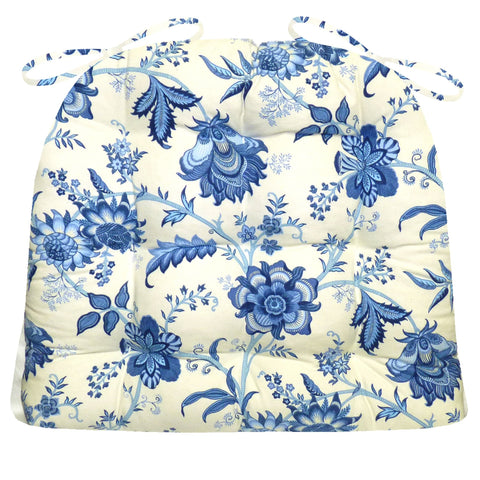 Jacobean Gem Blue Colonial Floral Print Dining Chair Pads - Latex Foam Fill - Reversible