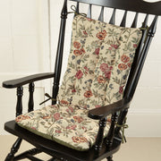 La Belle Floral Brocade Rocking Chair Cushion | Barnett Home Decor | Red, Gold, & Green