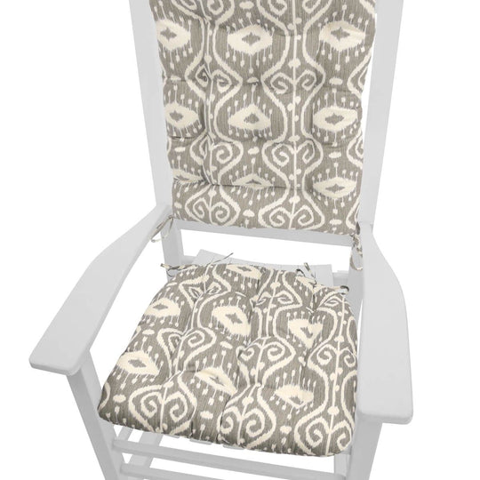 Bali Ikat Stone Grey Rocking Chair Cushions - Latex Foam Fill