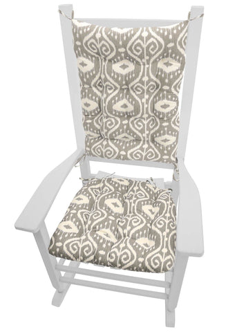 Bali Ikat Stone Rocking Chair Cushions - Barnett Home Decor - Grey & Ivory