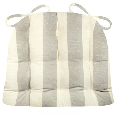 Coastal Cabana Stripe Grey Dining Chair Pad - Latex Foam Fill - Made in USA
