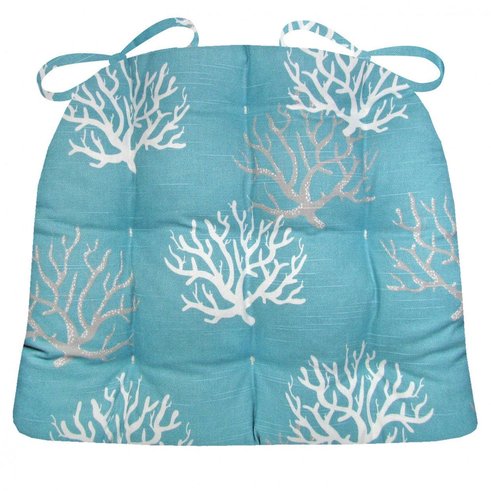Coastal Coral Aqua Dining Chair Pad