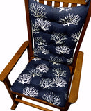 Coastal Coral Navy Blue Rocking Chair Cushions - Latex Foam Fill - Made in USA