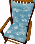 Coastal Coral Aqua Rocking Chair Cushions - Latex Foam Fill - Made in USA