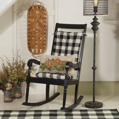 Pastoral Buffalo Check Rocking Chair Cushion Set - Latex Foam Fill - Reversible