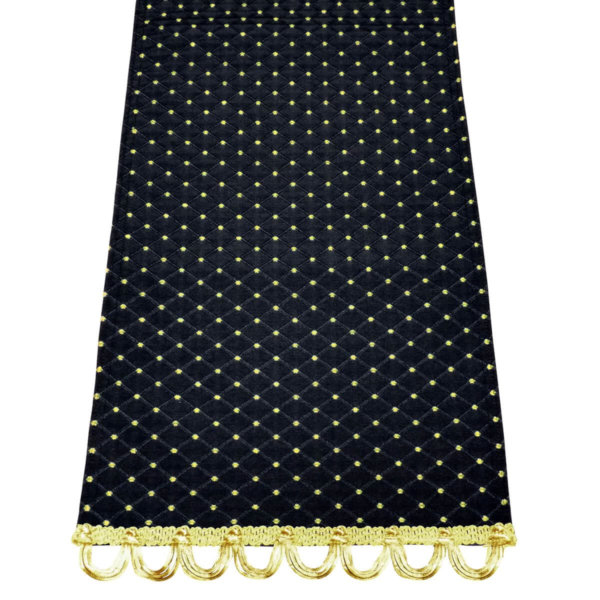 "Tiffanie Black Brocade 72"" Table Runner - with Trim"