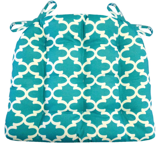 Fulton Ogee Aqua Indoor/Outdoor Dining Chair Cushion - Barnett Home Decor - Aqua