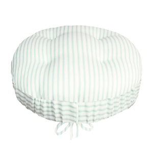 Ticking Stripe Aqua Bar Stool Cover with Adjustable Drawstring Yoke