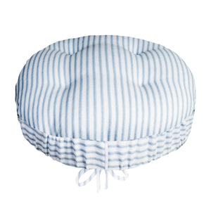 Ticking Stripe Blue Bar Stool Cover with Adjustable Drawstring Yoke