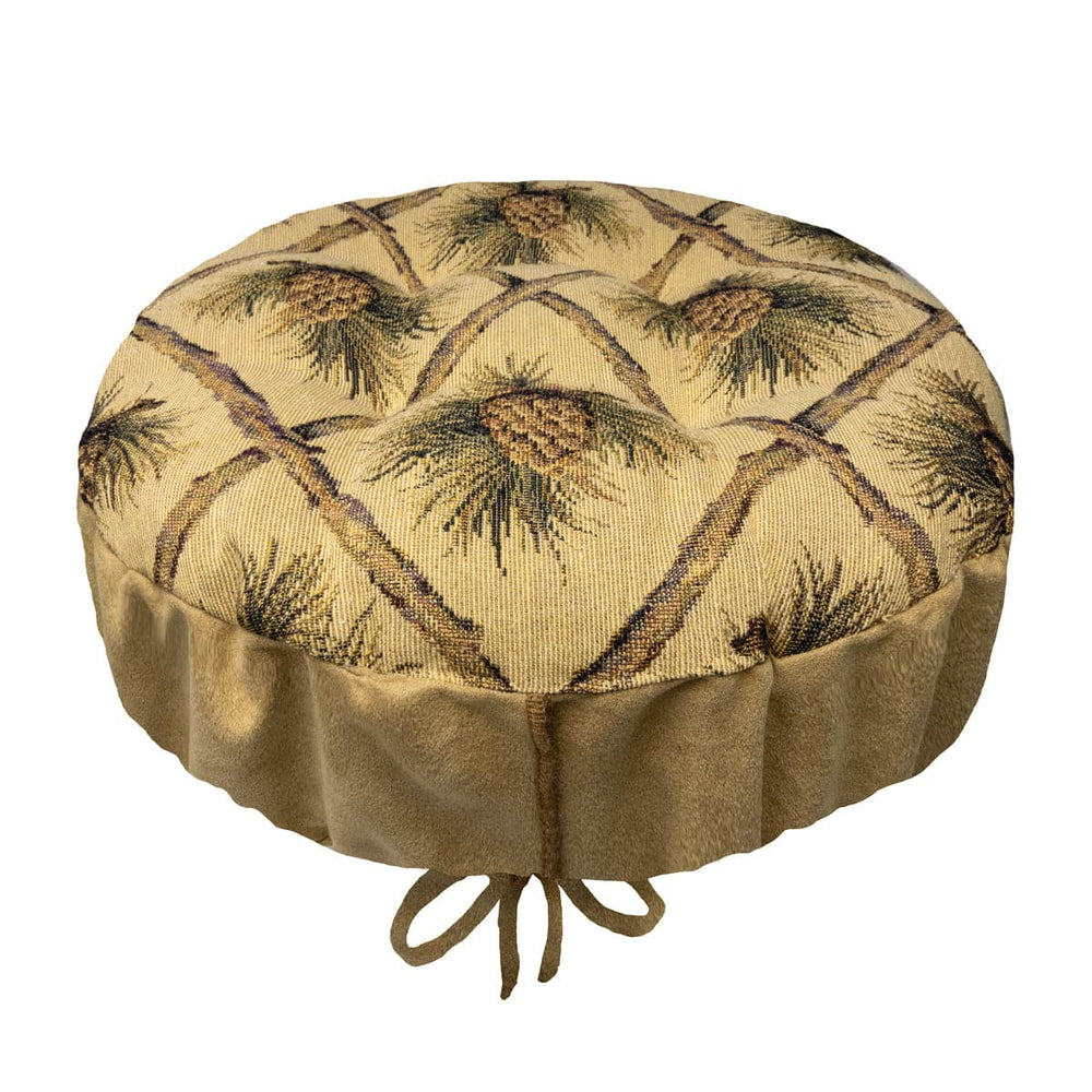 Wilderness Pine Cones Beige Bar Stool Cover | Barnett Home Decor
