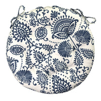 "Sylvan Navy Blue Bistro Chair Pad - 16"" Round Cushion with Ties - Indoor / Outdoor"