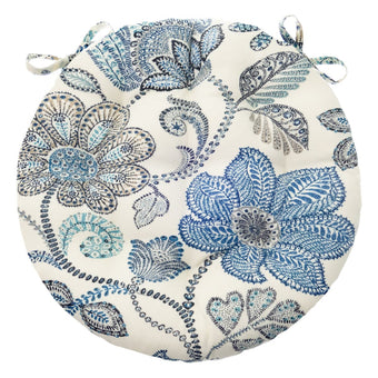 "Boutique Floral Blue Bistro Chair Pad - 16"" Round Cushion with Ties - Indoor / Outdoor"