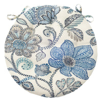 Boutique Floral Blue Bistro Chair Pad - Barnett Home Decor - Blue & White