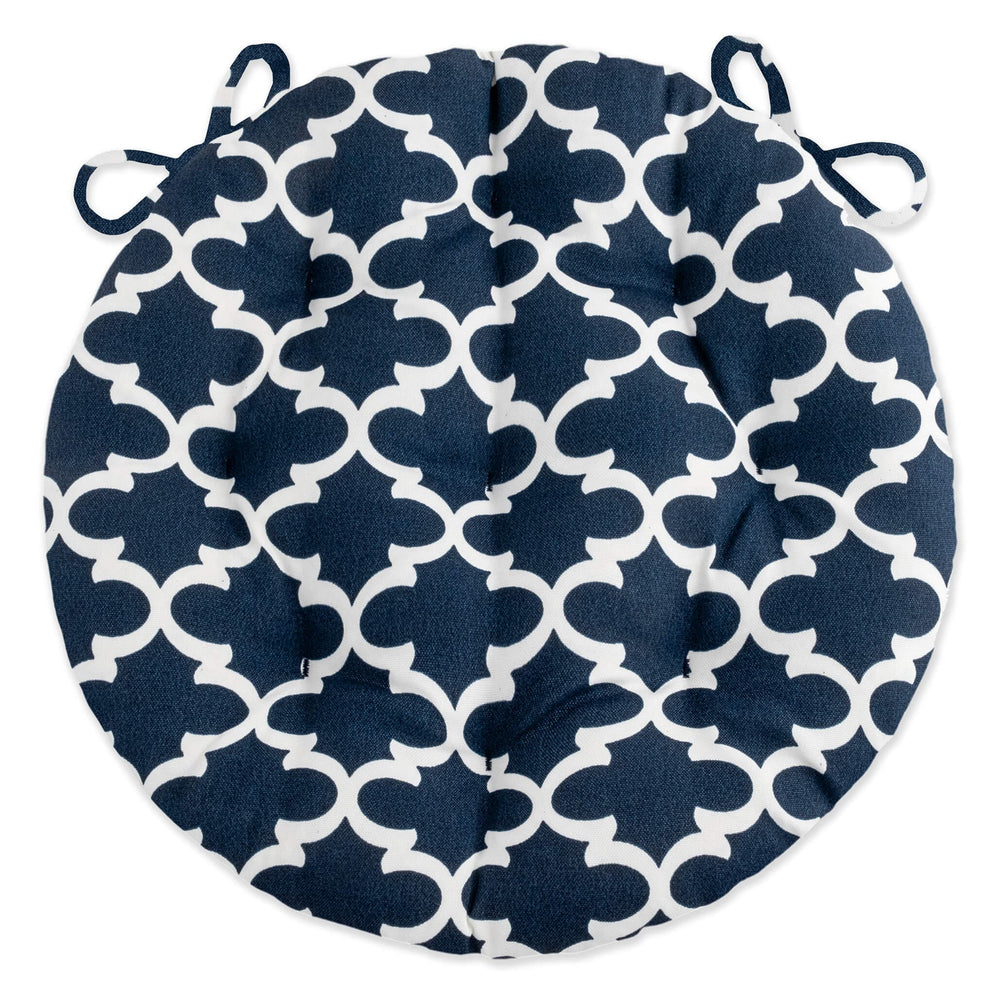 fulton navy quatrefoil bistro cushions - indoor / outdoor | barnett home decor