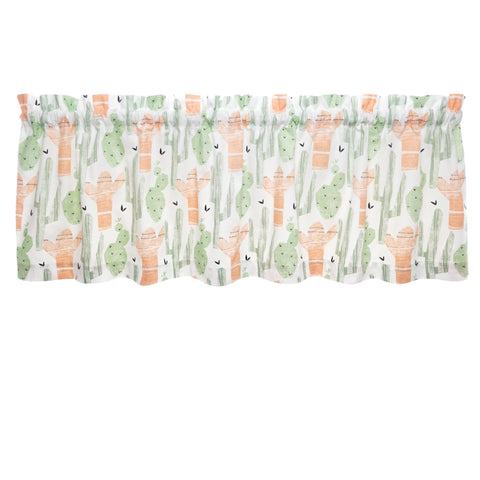 Santa Fe Cactus Cafe Valance - Straight Tailored Window Treatment