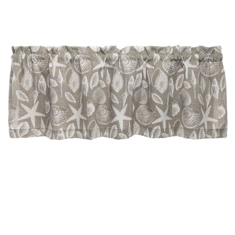 Shoreline Grey Cafe Valances - Straight Tailored Window Treatments
