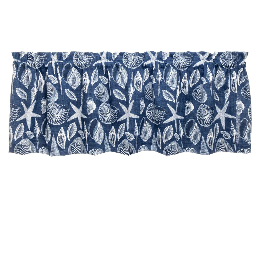 Shoreline Navy Blue Cafe Valances - Straight Tailored Window Treatments