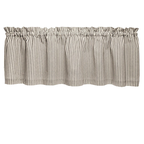 Ticking Stripe Black Cafe Valance - Straight Tailored Window Treatment