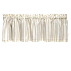 Ticking Stripe Natural Cafe Valance - Straight Tailored Window Treatment