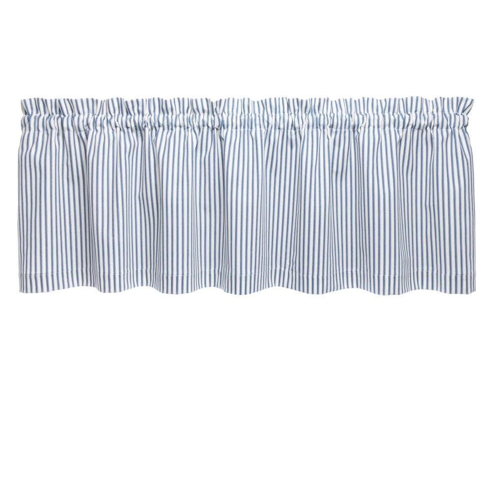 Ticking Stripe Navy Blue Cafe Valance - Straight Tailored Window Treatment