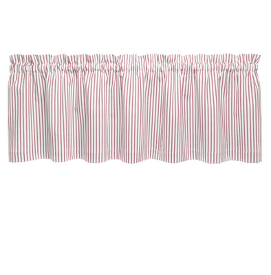 Ticking Stripe Red Cafe Valance - Straight Tailored Window Treatment