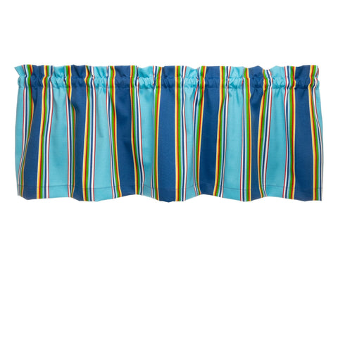 Westport Cobalt Cabana Stripe Nautical Cafe Valances - Straight Tailored Window Treatments