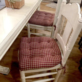 Checkers Red & Tan Dining Chair Pads - Latex Foam Fill - Farmhouse