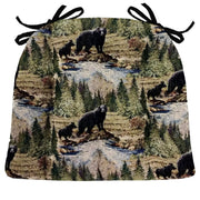 Wilderness Black Bears Dining Chair Cushions - Barnett Home Decor- Green, Brown, Blue, & Taupe