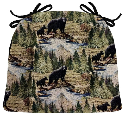 Wilderness Black Bears Dining Chair Pads with Ties - Latex Foam Fill - Rustic Lodge