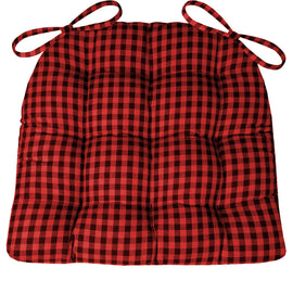 Farmhouse Check Red & Black Dining Chair Pads - Latex Foam Fill - Checkered